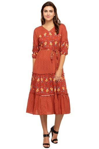 Womens V- Neck Printed Drop Waist Dress
