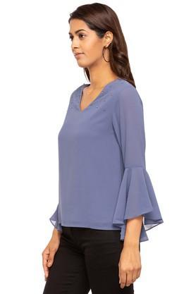 Womens V Neck Solid Embellished Top