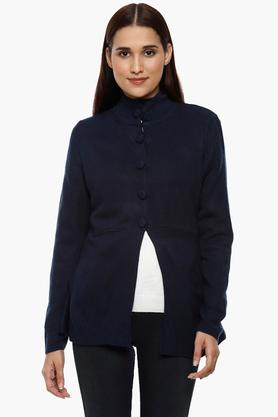 APSLEY Womens Band Neck Solid Cardigan