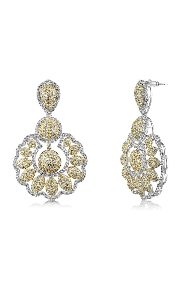 Womens Floral Dual Tone Drop Earrings