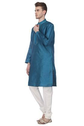 Mens Mandarin Collar Printed Kurta with Churidar Set