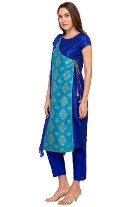 Womens Round Neck Printed Layered Pant Suit