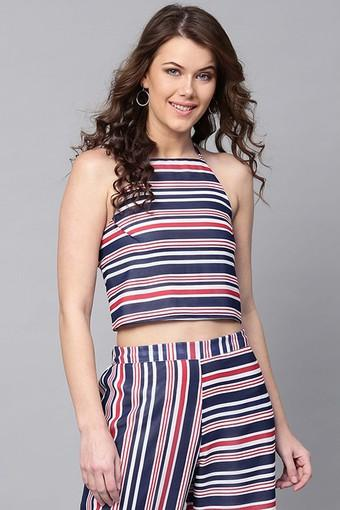 Womens Halter Neck Striped Crop Top