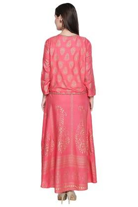 Womens Round Neck Printed Kurta with Jacket
