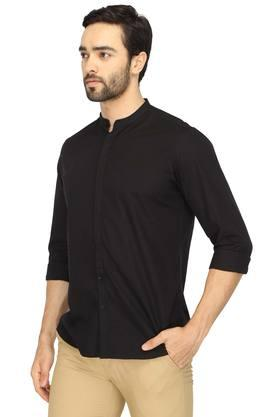 Mens Mao Collar Solid Shirt