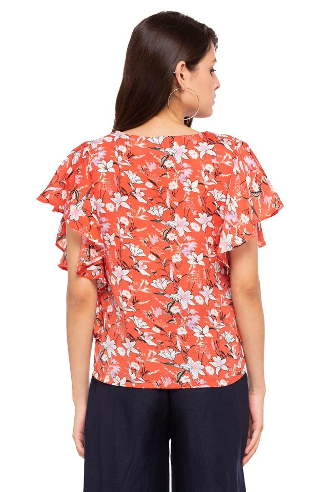 Womens Key Hole Neck Floral Print Top