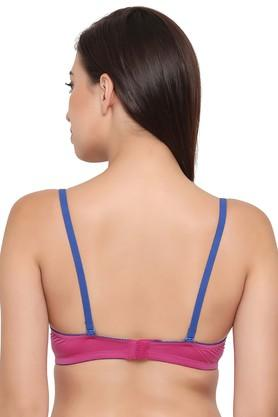 Womens Solid Underwire Padded Push Up Bra
