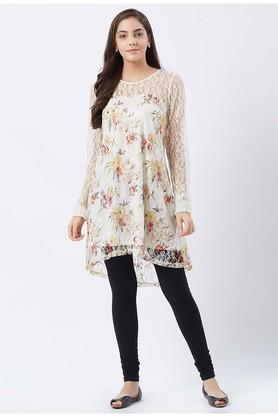 Womens Round Neck Lace Kurta
