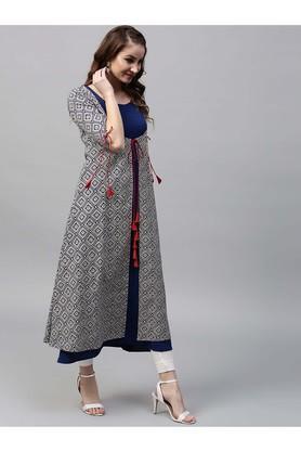 Women Cotton Printed Aline Kurta With Printed Ethnic Jacket