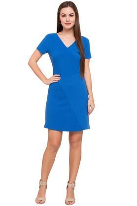Womens V- Neck Self Pattern Short Dress