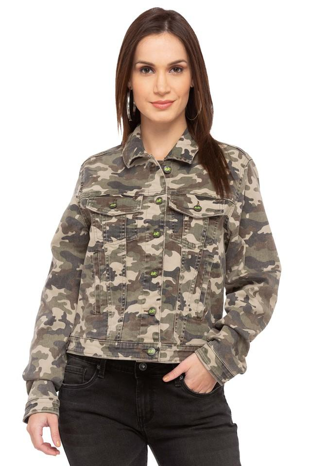 Womens Collared Camouflage Jacket