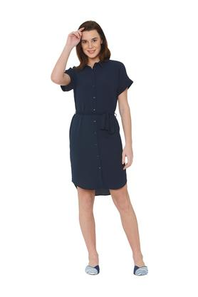 Womens Solid Shirt Dress