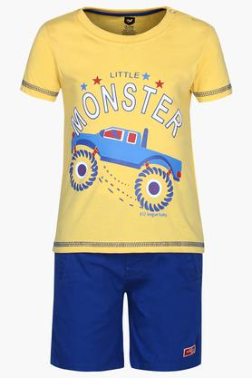 Boys Round Neck Printed T-Shirt and Solid Shorts