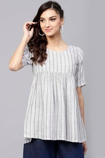 Womens Round Neck Striped Tunic