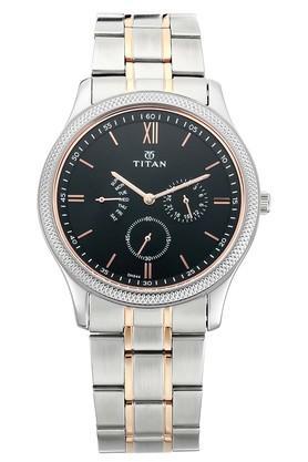 TITANMens Classique Retrogrades Black Dial Multifunction Watch 1768KM01