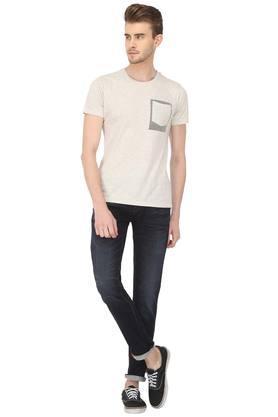 Mens Slim Fit 4 Pocket Whiskered Effect Jeans