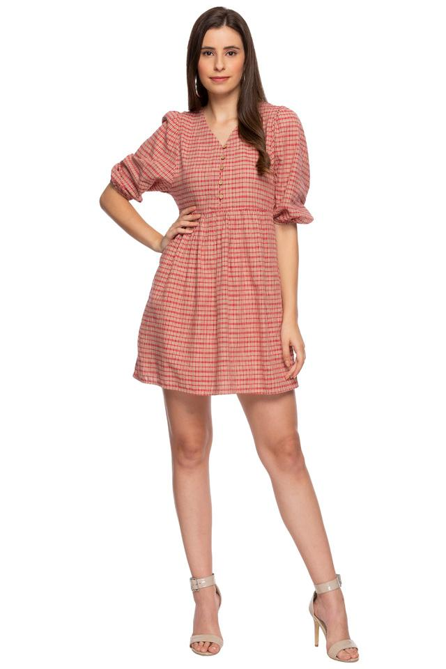 Womens V Neck Checked Short Dress