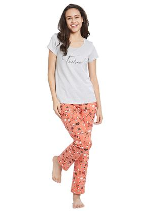 Womens Round Neck solid T-Shirt and Pyjamas Set