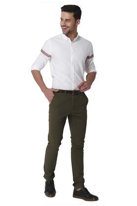 Mens Slim Fit 5 Pocket Solid Chinos