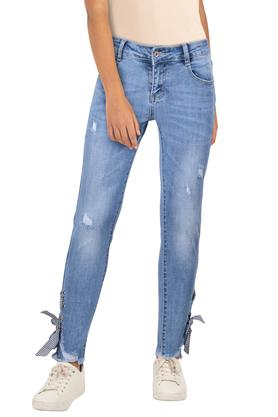 Womens Whiskered Effect Crop Jeans