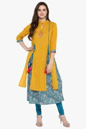 JUNIPER Womens Printed Front Slit A-Line Kurta With Piping Detailing