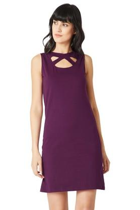Womens Slim Fit Round Neck Cut Out Solid Shift Dress
