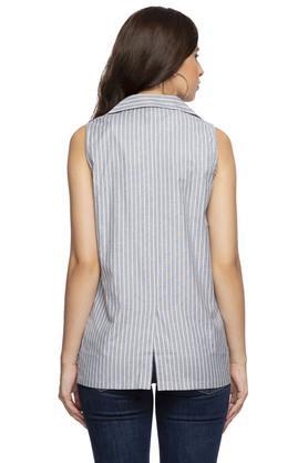 Womens Notched Lapel Striped Blazer