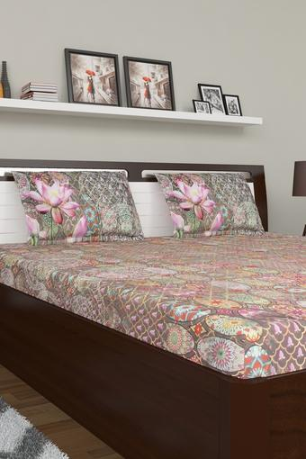 Ethnic Printed Double Bed Sheet with Pillow Cover