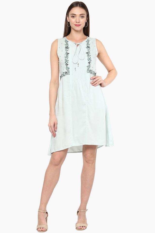 Womens Tie Up Neck Embroidered A-Line Dress