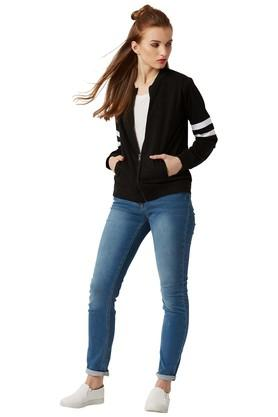 Womens Zip Through Neck Solid Bomber Jacket
