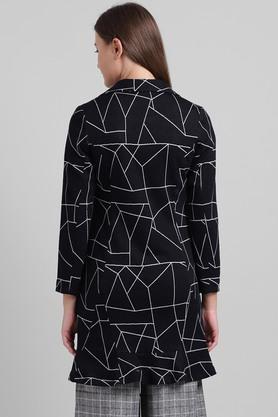 Womens Notched Collar Printed Long Jacket
