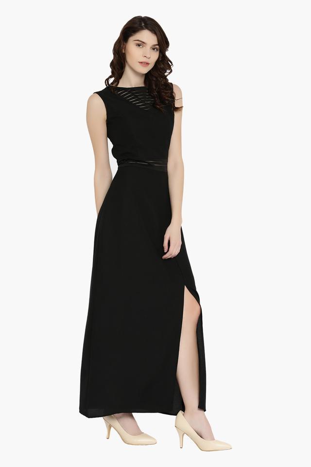 Womens Boat Neck Solid Maxi Dress