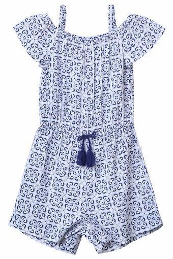 Girls Off Shoulder Printed Jumpsuit