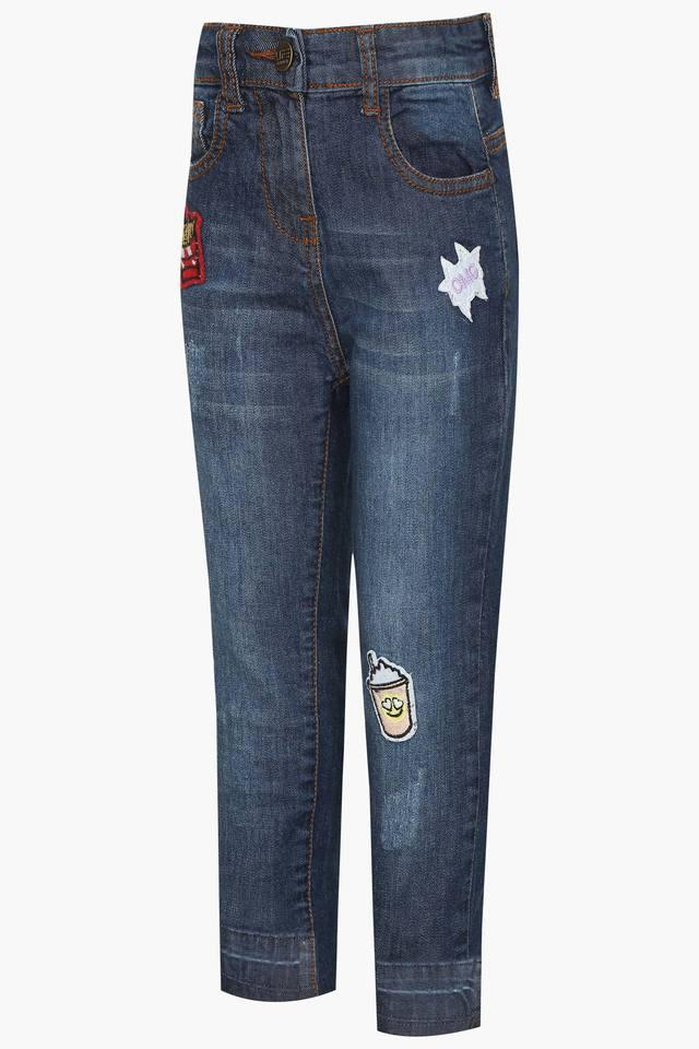 Girls 5 Pocket Solid Jeans