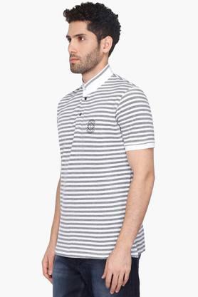 Mens High Neck Striped T-Shirt