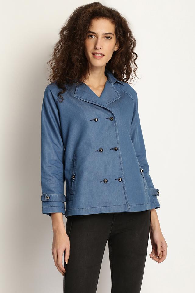Womens Solid Denim Jacket