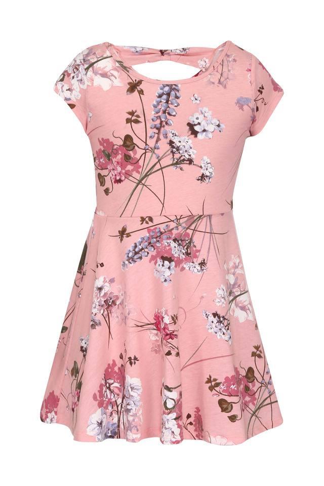 Girls Round Neck Floral Print Flared Dress