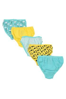 Girls Printed and Striped Briefs - Pack of 5