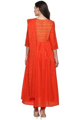 Womens Tie Up Neck Printed Churidar Suit