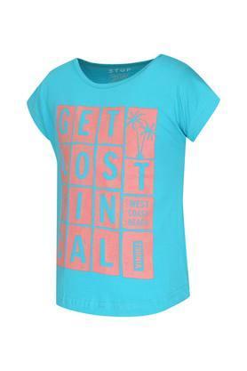 Girls Round Neck Printed Top