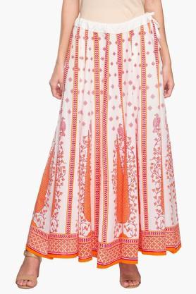 STOPWomens Printed Flared Long Skirt