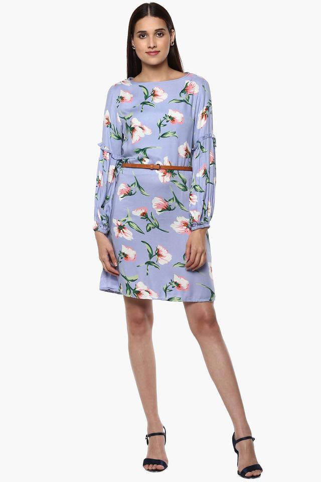 Womens Round Neck Floral Print Short Dress