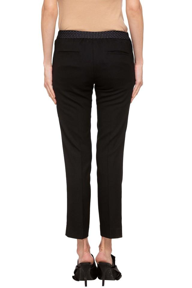 Womens 4 Pocket Solid Formal Trousers