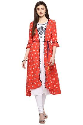 JUNIPERWomens Embellished Long Kurta With Printed Jacket