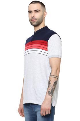 Mens Mandarin Collar Striped T-Shirt