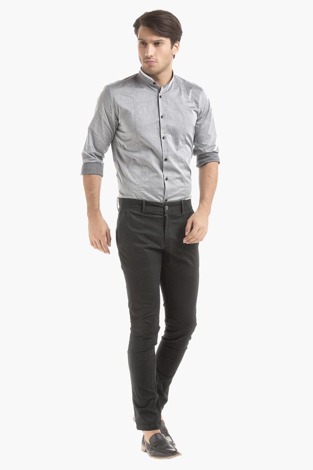 Mens Band Collar Solid Shirt