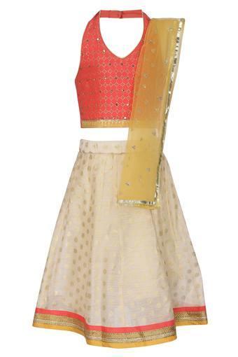 Girls Halter Neck Embellished Ghaghra Choli Dupatta Set