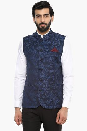THEMEMens Floral Print Nehru Jacket