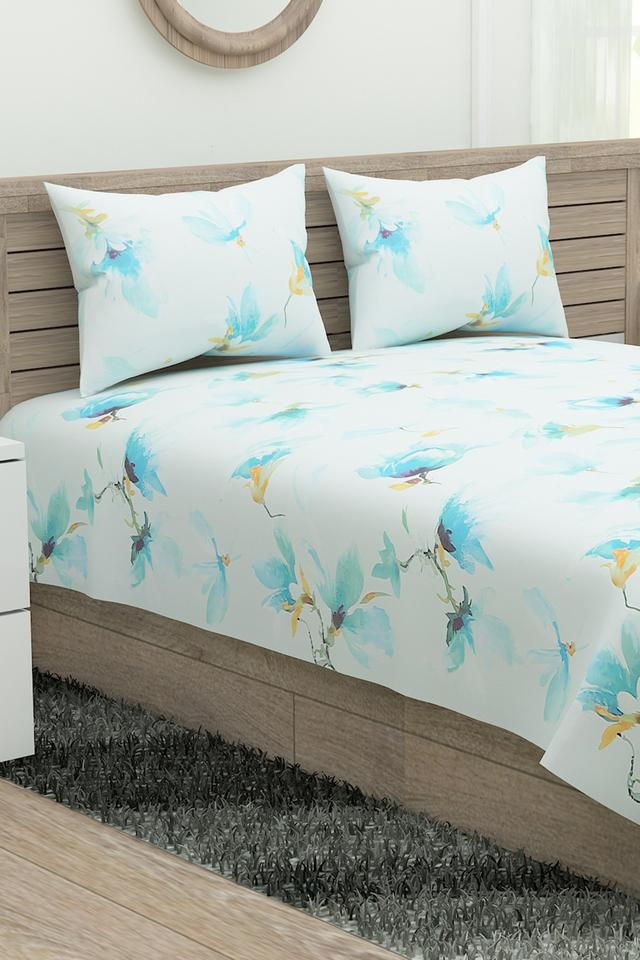 Prime Collection Floral Print Single Bed Sheet with 2 Pillow Covers