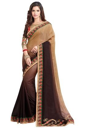 ASHIKA Plain Soft Silk Saree With Blouse Piece - 204034561_9126